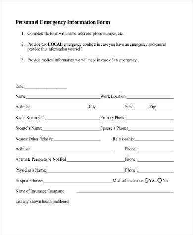 personnel emergency information form