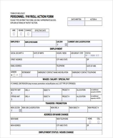 Personnel Payroll Action Form
