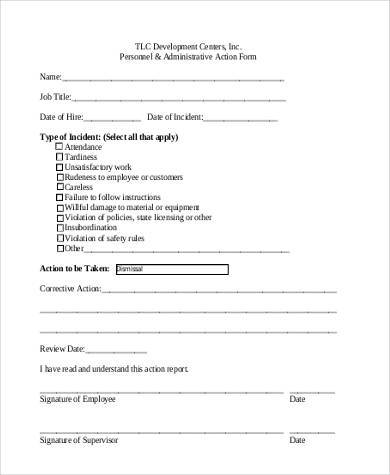 personnel and administrative action form