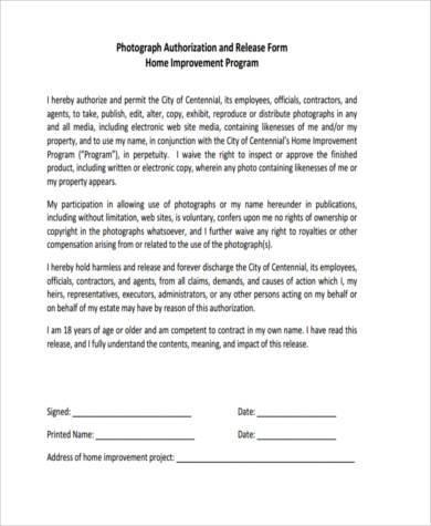 photo authorization release form