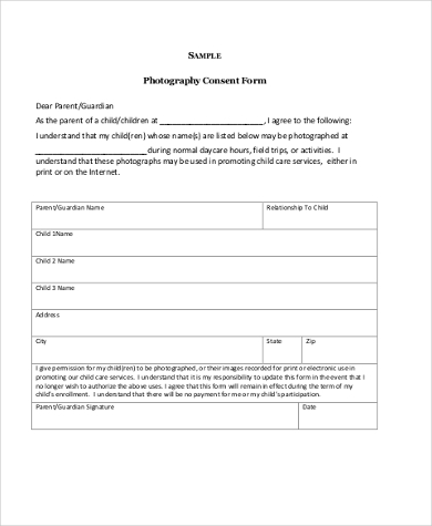 photo consent form for daycare