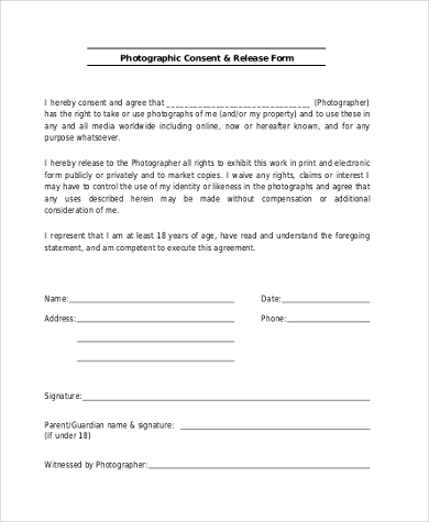 photographer release consent form
