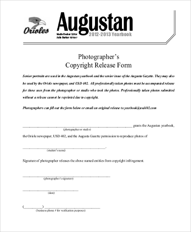 photographer release of copyright form