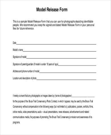 Photography Model Release Form Example