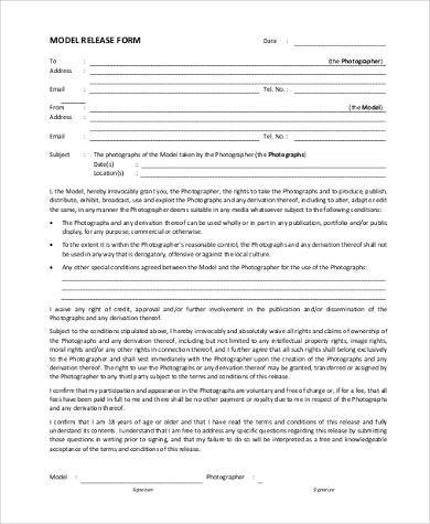 photography model release form pdf
