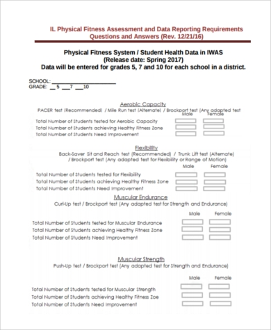 physical fitness assessment form