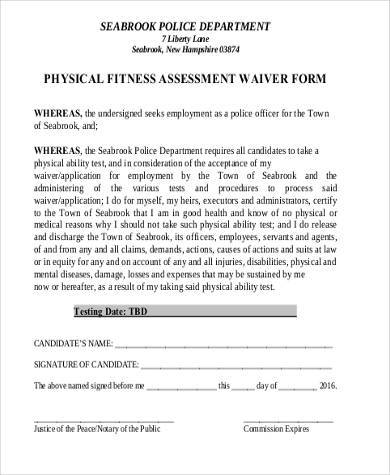 Sample Physical Fitness Forms   Free Documents In Pdf