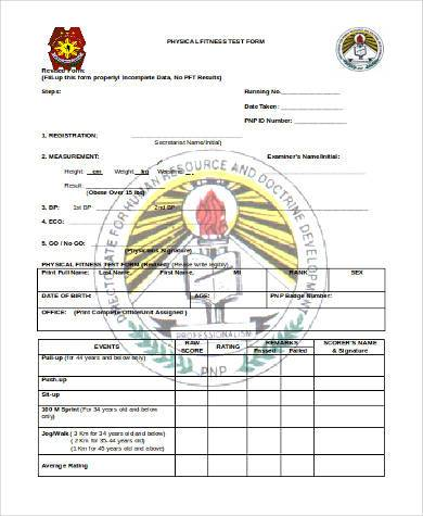 physical fitness test form