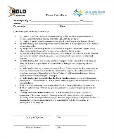 physical fitness waiver form
