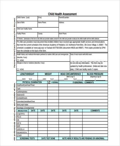 physical health assessment form1