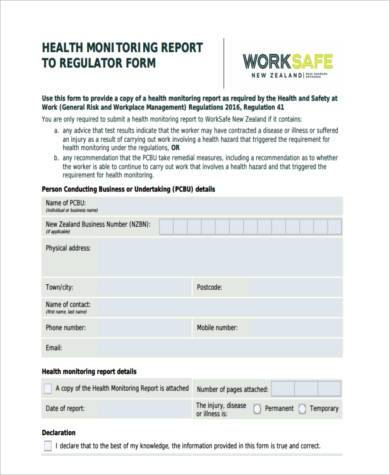 physical health monitoring form
