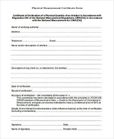 physical measurement certificate form