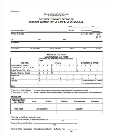 Sample Physical Report Forms - 7+ Free Documents In Word
