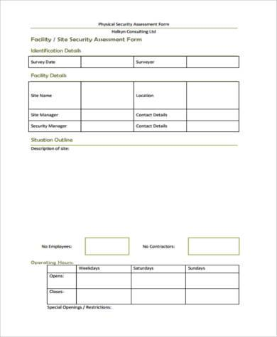 physical security risk assessment form