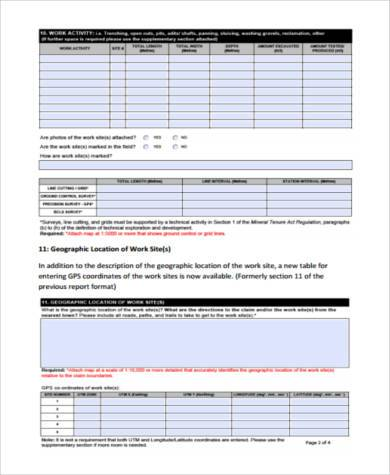 physical work report form
