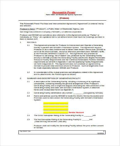 Stunning Sample Power Purchase Agreement Ideas  Best Resume