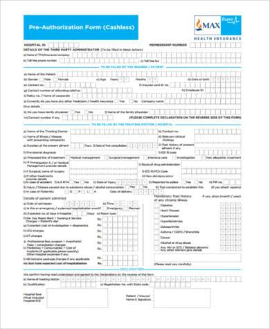 pre authorization medical form