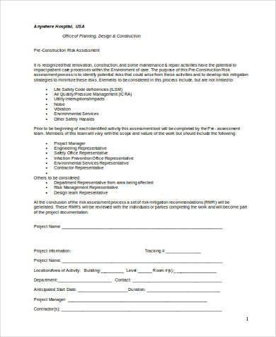 pre construction risk assessment form