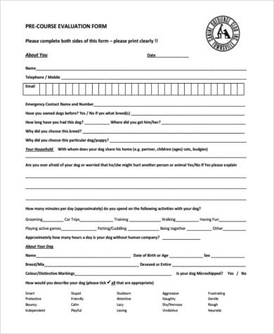pre course evaluation form