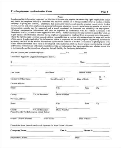 pre employment authorization form2