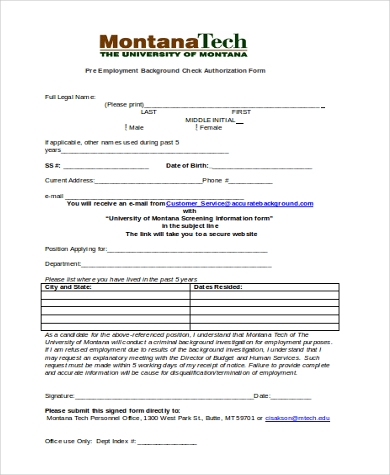 pre employment background check authorization form Sample Background Check Authorization Form - 8  Free Documents in ...