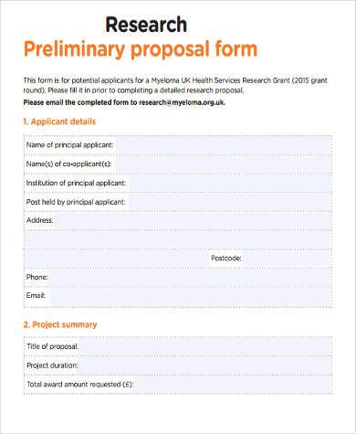 Sample Research Proposal Forms   Free Documents In Word Pdf