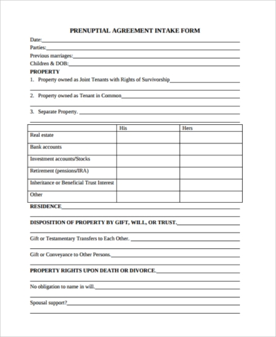 Sample Prenuptial Agreement Form   Free Documents In Word Pdf