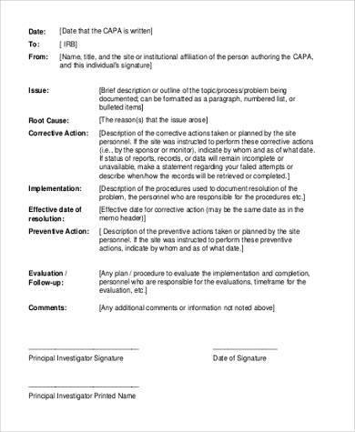 preventive action plan form