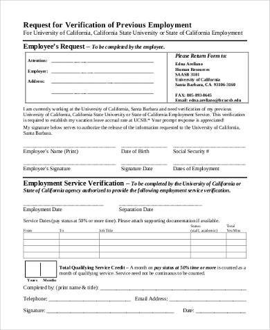 Request For Verification Of Employment Form Image Gallery  Hcpr
