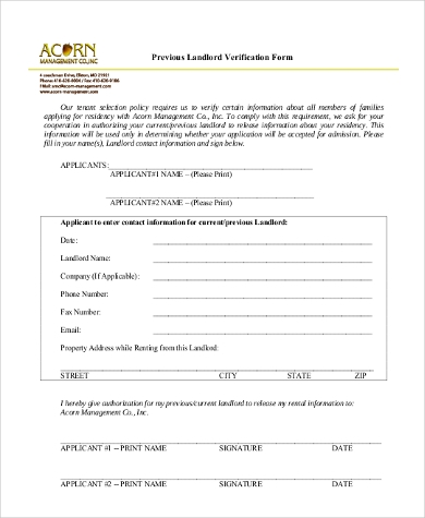 Previous Landlord Verification Form Sample  Landlord Employment Verification Form