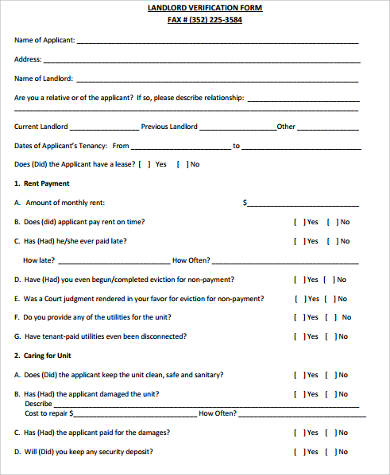 Previous Landlord Verification Form  Landlord Employment Verification Form
