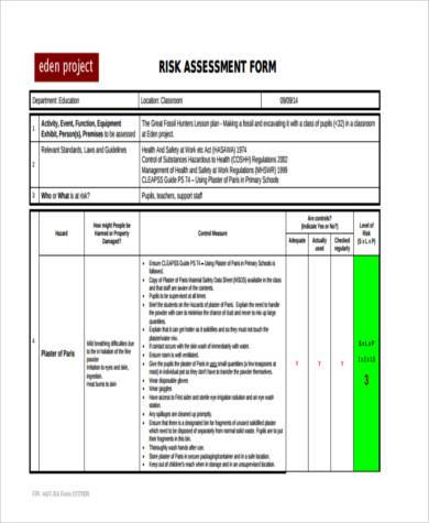 FREE 8+ Sample School Risk essment Forms | PDF Risk Essment Template Excursion on
