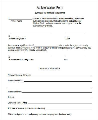 printable athlete waiver form