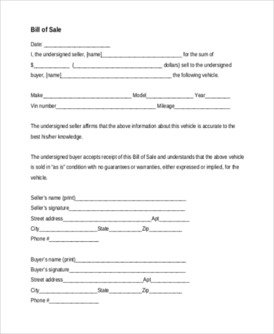 Bill Of Sale Form Sample   Free Documents In Word Pdf