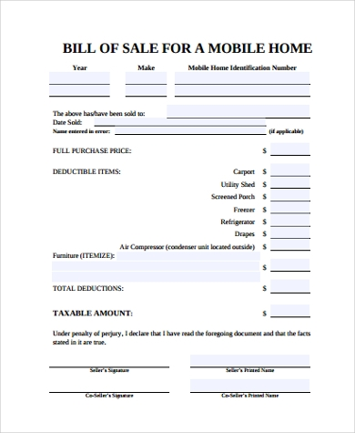 Mobile Home Bill Of Sale   Free Documents In Pdf