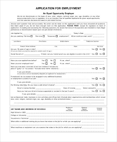 printable blank job application