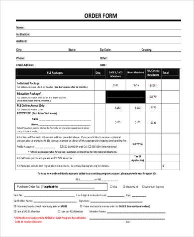 printable blank order form