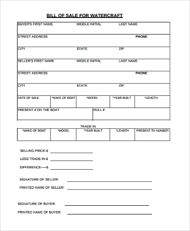 printable boat bill of sale form