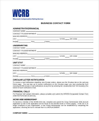 printable business contact form