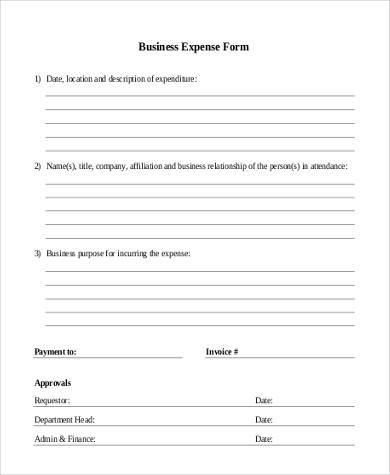 printable business expense form