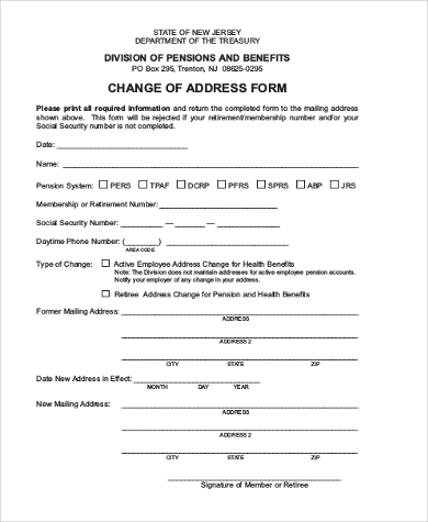 Attractive Printable Change Of Address Form And Change Of Address Printable Form