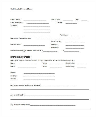 Printable Child Medical Consent Form  Free Child Medical Consent Form