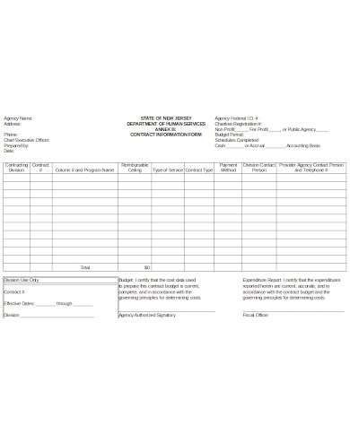 printable contract information form