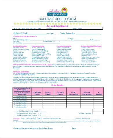 Cupcake Order Form  Sample Cake Order Form Template   Free