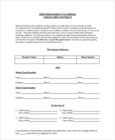 printable daycare contract form