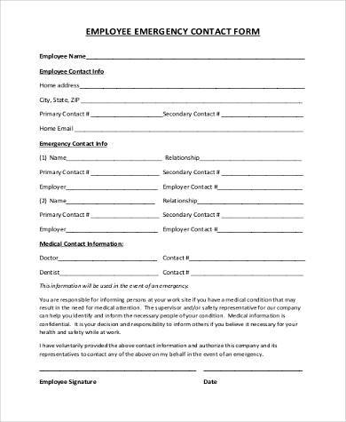 printable employee emergency contact form1