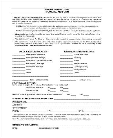 printable financial aid form