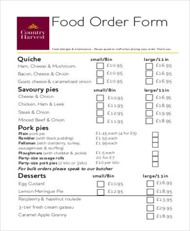 Wonderful Printable Food Order Form