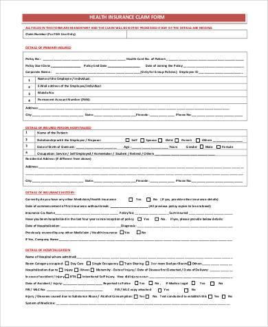 printable health insurance claim form
