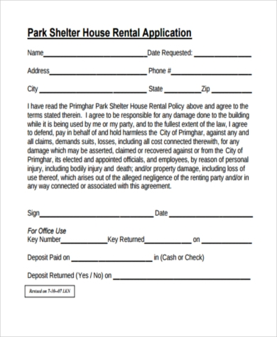 printable house rental application
